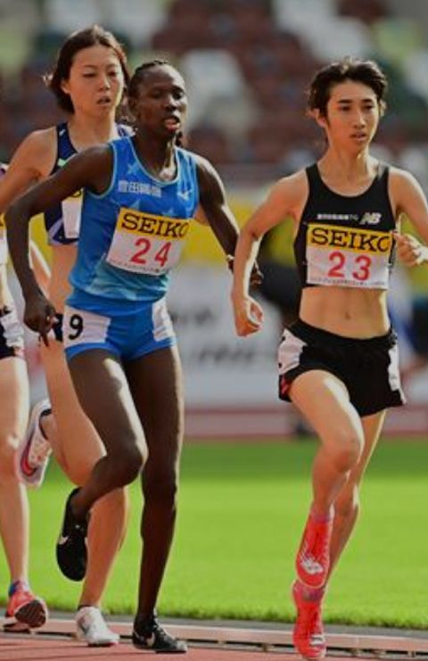 Kenya's Helen Ekalale trails Nozomi Tanaka wins the 1500m at the Seiko Golden Grand Prix in Tokyo (JAAF)